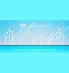 Wind turbine energy renewable water station sea vector