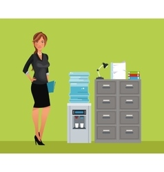 Woman breaktime office cooler water cabinet file vector