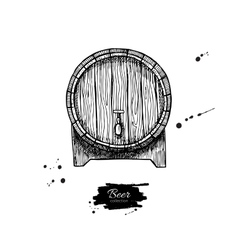 wooden barrel Hand drawn vintage vector image vector image
