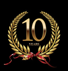 10 years anniversary laurel wreath vector