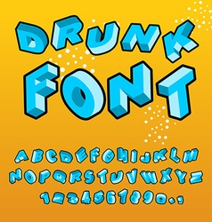 Drunk font different letters slope crazy abc vector