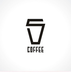 logo with cup of coffee vector image