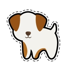 Dog canine young standing cut line vector