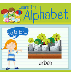 Flashcard letter U is for urban vector image