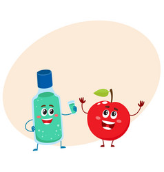 Funny dental mouthwash mouth rinse and apple vector