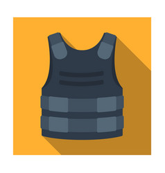 Bulletproof vest icon in flat style isolated on vector