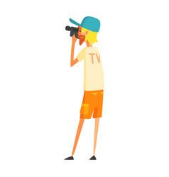 Videographer journalist shooting video official vector