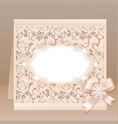 Background card with a bow and delicate flower vector