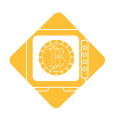 Label strongbox open with bitcoin currency inside vector