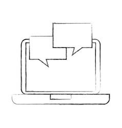 Laptop with speech bubble communication dialog vector