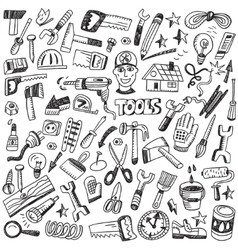 working tools - doodles set vector image