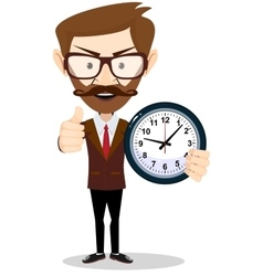 Young businessman holding a clock in office vector