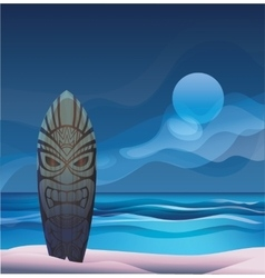 Tiki warrior mask wood surfboard ocean beach night vector