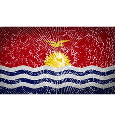 Flags kiribati with broken glass texture vector