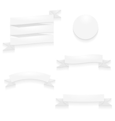 Detailed white ribbons and badge vector