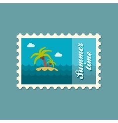 Island with palm trees flat stamp summertime vector