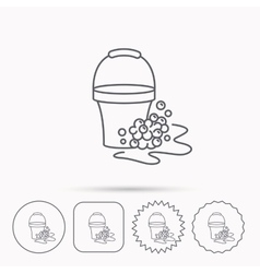 Soapy cleaning icon bucket with foam and bubble vector