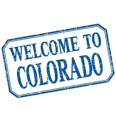 Colorado - welcome blue vintage isolated label vector
