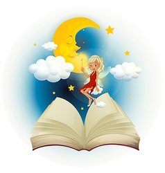 A storybook with a fairy and a sleeping moon vector image vector image