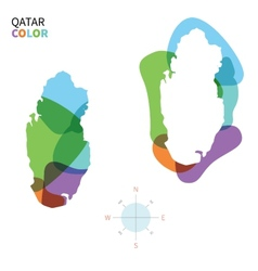 Abstract color map of qatar vector