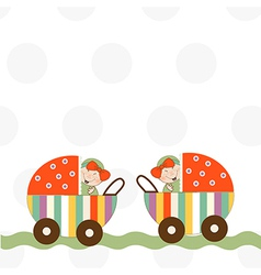 Baby twins announcement card vector