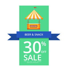 Beer and snack 30 off sale vector