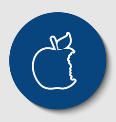 Bited apple sign white contour icon in vector
