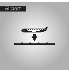 Black and white style icon airplane lands vector