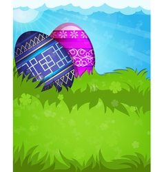 Blue and purple Easter eggs vector image