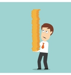 Businessman carefully carrying pile of coins vector image