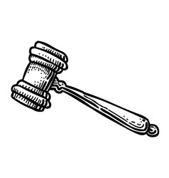 cartoon image of judge gavel icon law symbol vector image