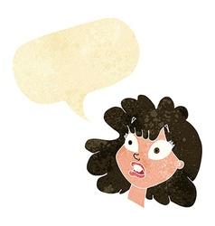 Cartoon shocked female face with speech bubble vector