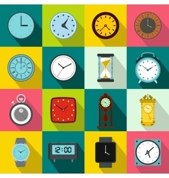 Clocks icons set flat style vector image vector image