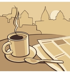 Coffee cup and news paper on table vintage vector