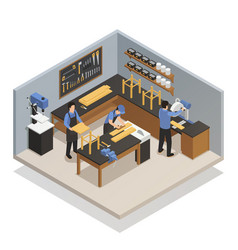 Craftsman people isometric composition vector