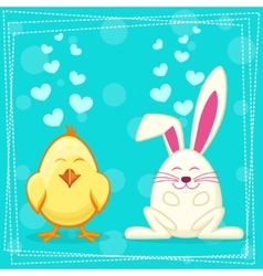 Cute yellow cartoon chicken and rabbit vector