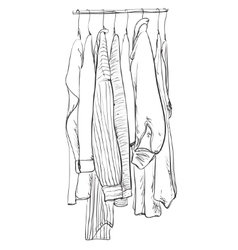 Doodles wardrobe sketch clothes on the hangers vector
