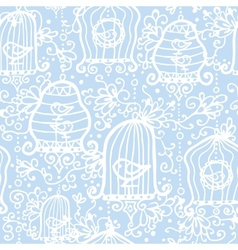 Drawing of birds in cages seamless pattern vector image