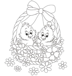 Easter basket with chicks vector
