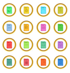 File extension icons circle vector