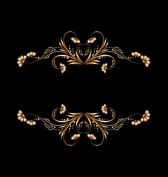 Frame of gold floral patterns vector