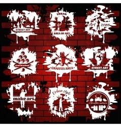 Graffiti white emblems with transparent elements vector