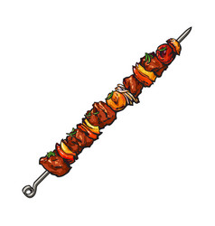 grilled pork beef meat on stick shashlik kebab vector image