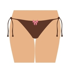 Half body women with brown tanga bikini vector