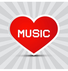 Love music theme with red paper heart on retro vector