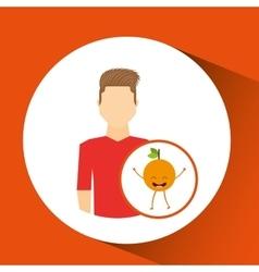 man with cartoon orange fruit vector image vector image