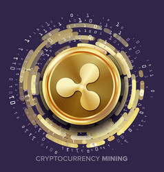 mining ripple cryptocurrency golden coin vector image