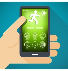Mobile phone with fitness app in hand vector