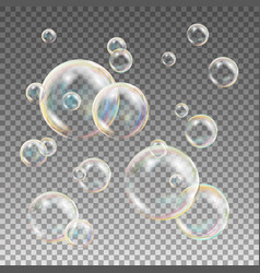 multicolored soap bubbles water and foam vector image vector image