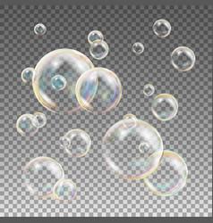 multicolored soap bubbles water and foam vector image